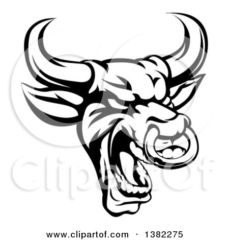 Clipart of a Black and White Roaring Bull Mascot Head with a Nose Ring - Royalty Free Vector Illustration by AtStockIllustration