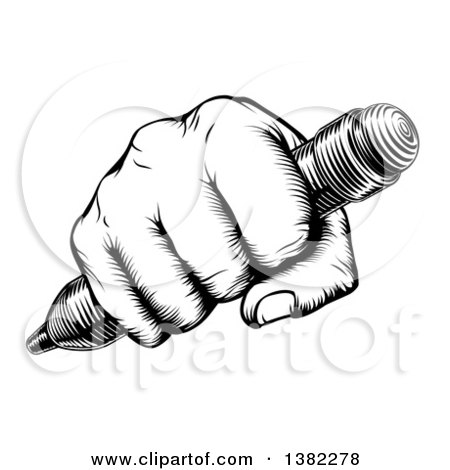 Clipart of a Retro Black and White Woodcut or Engraved Fisted Hand Holding a Pencil - Royalty Free Vector Illustration by AtStockIllustration