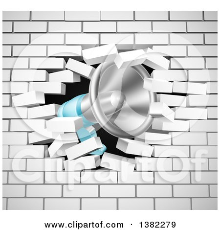 Clipart of a Megaphone Breaking Through a White Brick Wall - Royalty Free Vector Illustration by AtStockIllustration