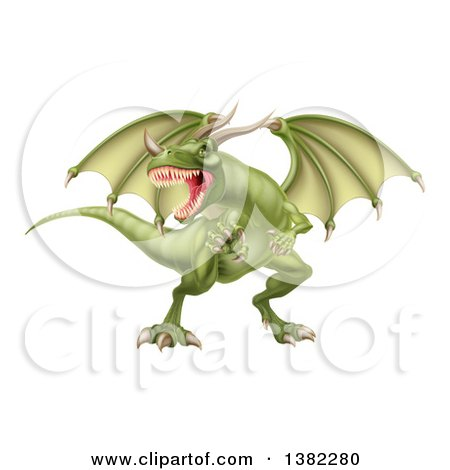 Clipart of a Fierce Green Dragon with a Horned Nose - Royalty Free Vector Illustration by AtStockIllustration