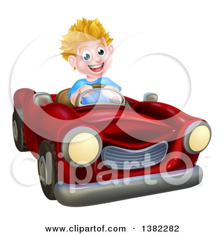 Clipart of a Happy Blond White Boy Driving a Red Convertible Car - Royalty Free Vector Illustration by AtStockIllustration