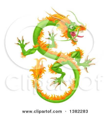 Clipart of a Green and Orange Chinese Dragon Flying - Royalty Free Vector Illustration by AtStockIllustration