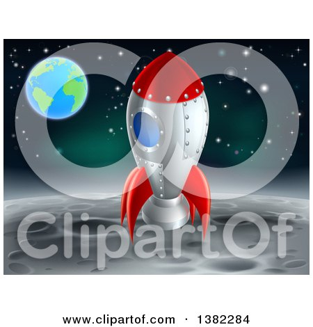 Clipart of a Rocket Ship on the Moon, with Earth in the Distance - Royalty Free Vector Illustration by AtStockIllustration