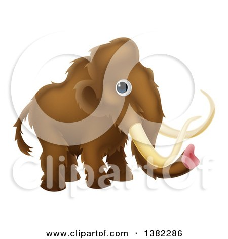 Clipart of a Cute Brown Baby Woolly Mammoth - Royalty Free Vector Illustration by AtStockIllustration