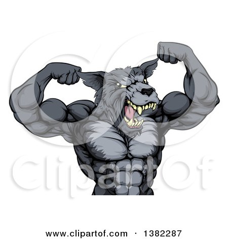 Clipart of a Tough Muscular Gray Wolf Man Mascot Flexing His Muscles, from the Waist up - Royalty Free Vector Illustration by AtStockIllustration