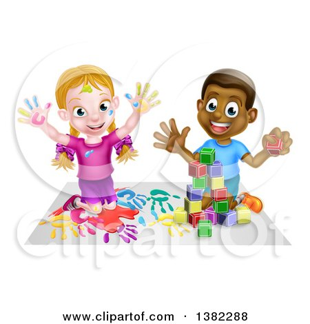 Clipart of a Cartoon Happy White Girl Sitting on Paper and and Painting and a Black Boy Playing with Blocks - Royalty Free Vector Illustration by AtStockIllustration