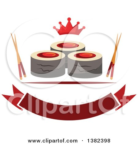 Clipart of Sushi Rolls with Chopsticks, a Crown and Blank Banner - Royalty Free Vector Illustration by Vector Tradition SM