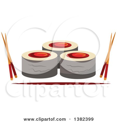 Clipart of Sushi Rolls with Chopsticks - Royalty Free Vector Illustration by Vector Tradition SM