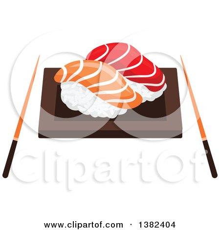 Clipart of a Plate of Sushi Nigiri with Chopsticks - Royalty Free Vector Illustration by Vector Tradition SM