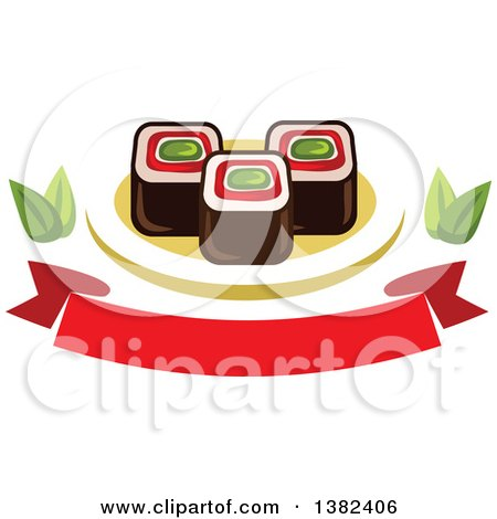 Clipart of Sushi Rolls with Leaves and a Blank Banner - Royalty Free Vector Illustration by Vector Tradition SM