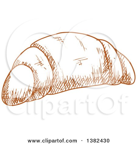 Clipart of a Brown Sketched Croissant - Royalty Free Vector Illustration by Vector Tradition SM