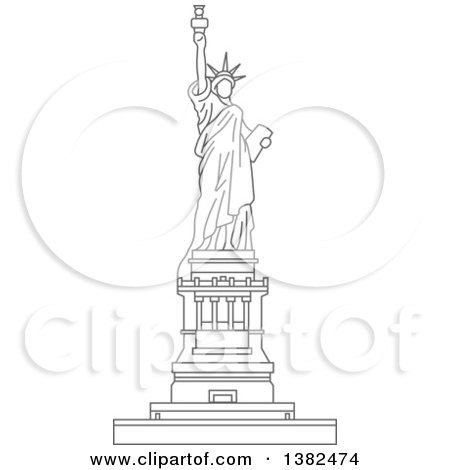 Clipart of a Gray Sketched Statue of Liberty - Royalty Free Vector Illustration by Vector Tradition SM