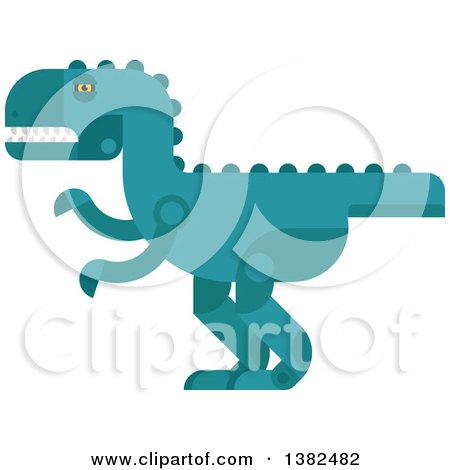 Clipart of a Robotic Styled Teal Tyrannosaurus Rex Dinosaur - Royalty Free Vector Illustration by Vector Tradition SM