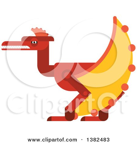 Clipart of a Robotic Styled Red Pterodactyl Dinosaur - Royalty Free Vector Illustration by Vector Tradition SM