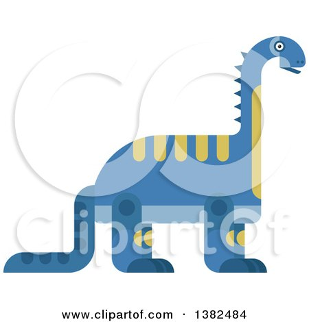 Clipart of a Robotic Styled Blue Brontosaurus Dinosaur - Royalty Free Vector Illustration by Vector Tradition SM
