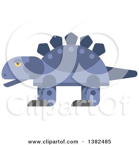 Clipart of a Robotic Styled Purple Stegosaurus Dinosaur - Royalty Free Vector Illustration by Vector Tradition SM