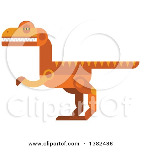 Clipart of a Robotic Styled Orange Velociraptor Dinosaur - Royalty Free Vector Illustration by Vector Tradition SM