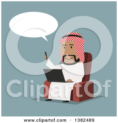 Clipart of a Flat Design Arabian Business Man Using a Smart Phone and Laptop, on Blue - Royalty Free Vector Illustration by Vector Tradition SM
