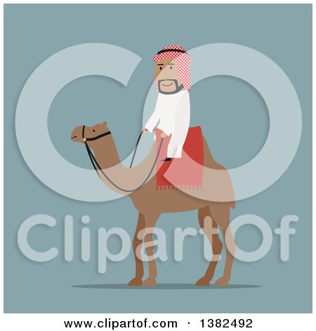 Clipart of a Flat Design Arabian Man Riding a Camel, on Blue - Royalty Free Vector Illustration by Vector Tradition SM