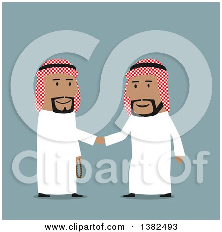 Clipart of Flat Design Team Arabian Business Men Shaking Hands, on Blue - Royalty Free Vector Illustration by Vector Tradition SM