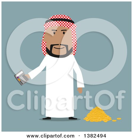 Clipart of a Flat Design Arabian Business Man Holding a Calculator by a Pile of Coins, on Blue - Royalty Free Vector Illustration by Vector Tradition SM