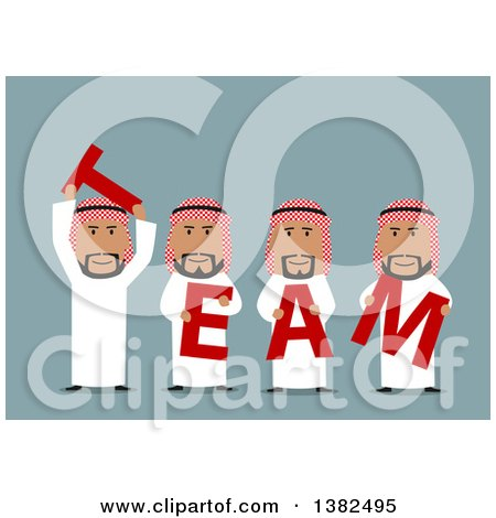 Clipart of a Flat Design Group of Arabian Business Men Holding TEAM Letters, on Blue - Royalty Free Vector Illustration by Vector Tradition SM