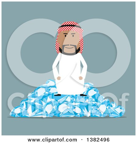Clipart of a Flat Design Arabian Business Man Sitting on a Pile of Diamonds, on Blue - Royalty Free Vector Illustration by Vector Tradition SM
