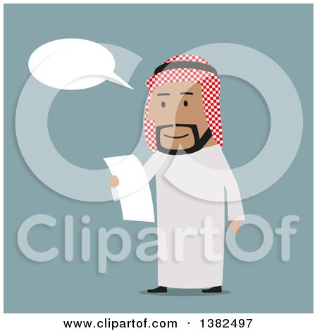 Clipart of a Flat Design Arabian Business Man Reading a Contract, on Blue - Royalty Free Vector Illustration by Vector Tradition SM