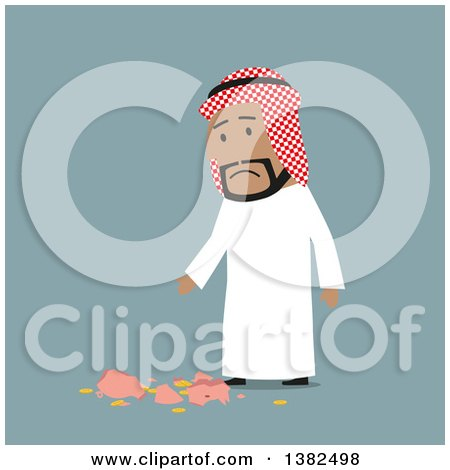 Clipart of a Flat Design Arabian Business Man with a Broken Piggy Bank, on Blue - Royalty Free Vector Illustration by Vector Tradition SM