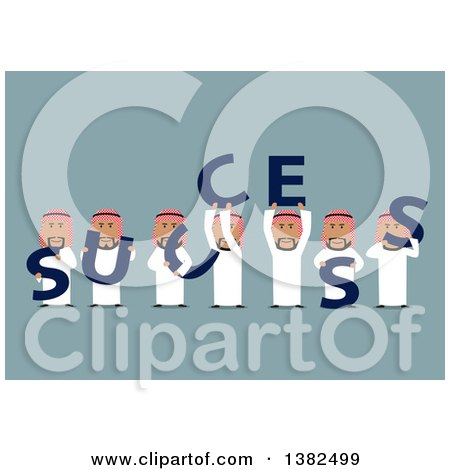 Clipart of a Flat Design Team of Arabian Business Men Holding SUCCESS Letters, on Blue - Royalty Free Vector Illustration by Vector Tradition SM