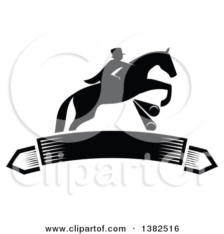 Clipart of a Black Silhouetted Rider on a Leaping Horse Above a Blank Banner - Royalty Free Vector Illustration by Vector Tradition SM