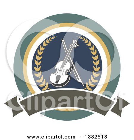 Clipart of a Violin and Bow Inside a Circle with a Wreath and Blank Banner - Royalty Free Vector Illustration by Vector Tradition SM