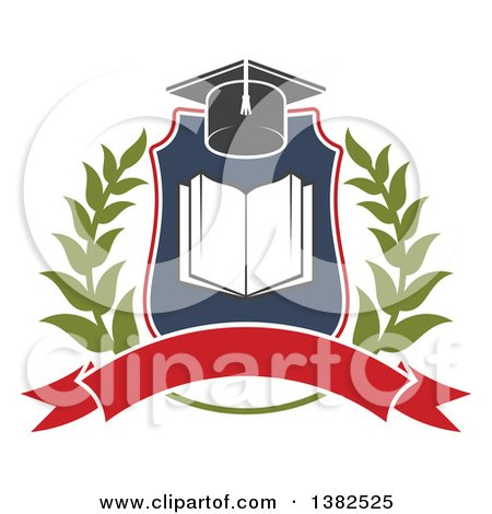 Clipart of a Book with Open Pages in a Shield with a Wreath, Graduation Mortar Board Hat and Blank Banner - Royalty Free Vector Illustration by Vector Tradition SM