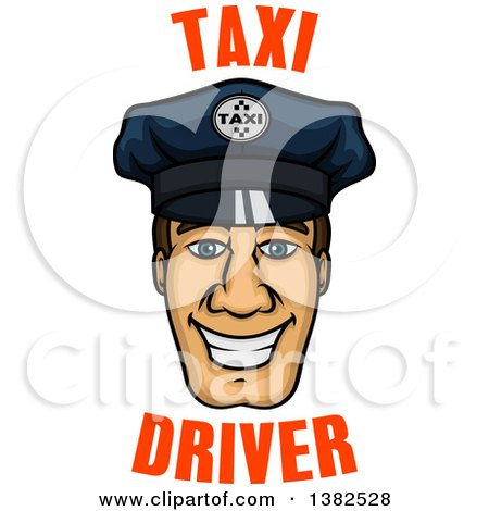 Clipart of a Cartoon Male Caucasian Cabbie Taxi Driver Face with Text - Royalty Free Vector Illustration by Vector Tradition SM