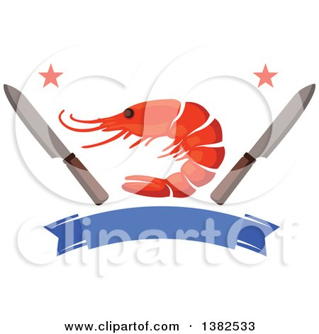 Clipart of a Shrimp with Knives, Stars, and a Blank Blue Banner - Royalty Free Vector Illustration by Vector Tradition SM