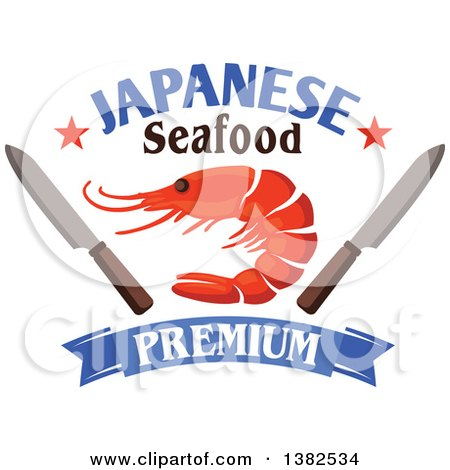 Clipart of a Shrimp with Knives, Stars, Text and a Blue Banner - Royalty Free Vector Illustration by Vector Tradition SM