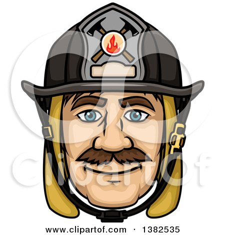 Clipart of a Cartoon Male Caucasian Fire Fighter Face - Royalty Free Vector Illustration by Vector Tradition SM