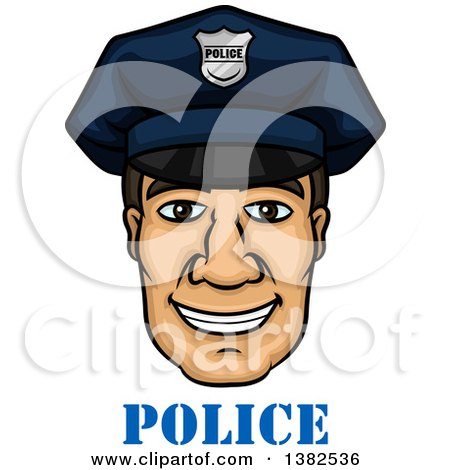 Clipart of a Cartoon Male Caucasian Police Officer Face over Text - Royalty Free Vector Illustration by Vector Tradition SM