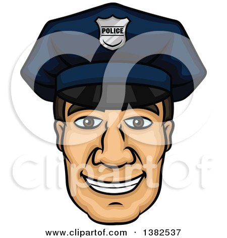 Clipart of a Cartoon Male Caucasian Police Officer Face - Royalty Free Vector Illustration by Vector Tradition SM