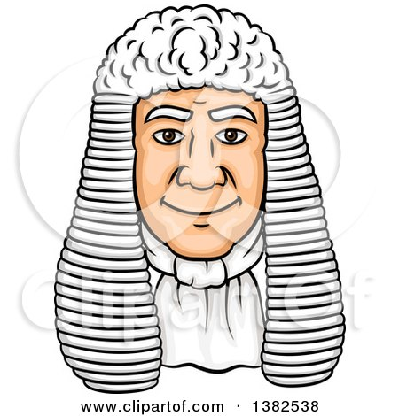 Clipart of a Cartoon Male Caucasian Judge Face with a Wig - Royalty Free Vector Illustration by Vector Tradition SM