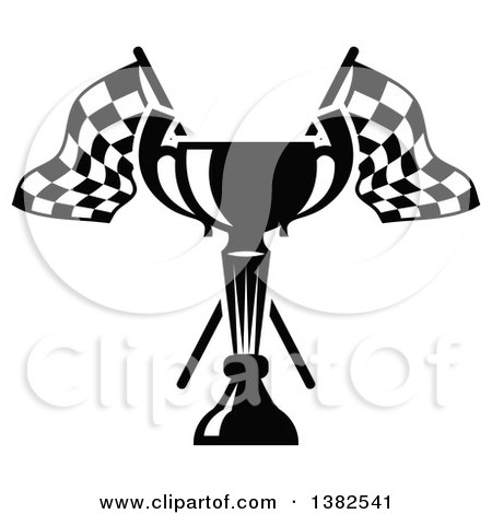 Clipart of a Black and White Trophy and Crossed Checkered Racing Flags - Royalty Free Vector Illustration by Vector Tradition SM