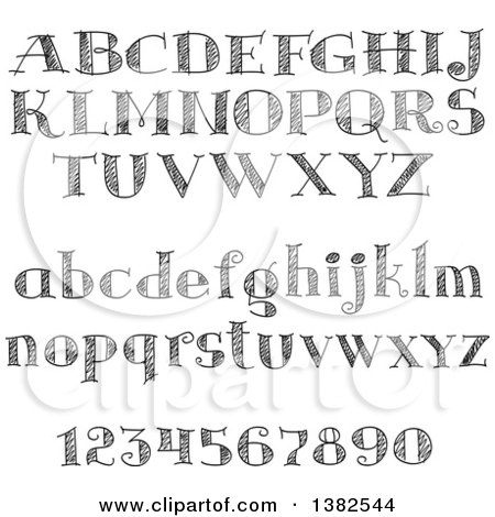 Clipart of Black and White Sketched Capital and Lowercase Letters and Numbers - Royalty Free Vector Illustration by Vector Tradition SM