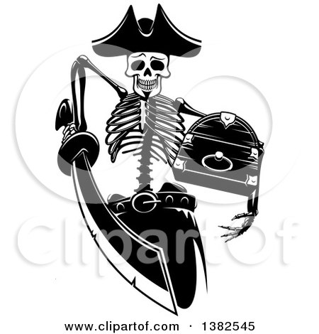Clipart of a Black and White Pirate Skeleton Stabbing with a Sword and Holding a Treasure Chest - Royalty Free Vector Illustration by Vector Tradition SM