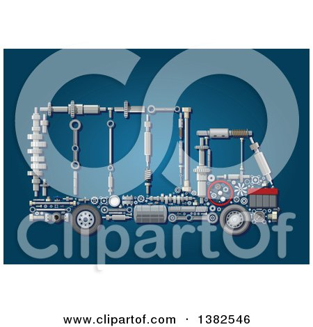 Clipart of a Big Rig Lorry Truck Made of Mechanical Parts over Blue - Royalty Free Vector Illustration by Vector Tradition SM