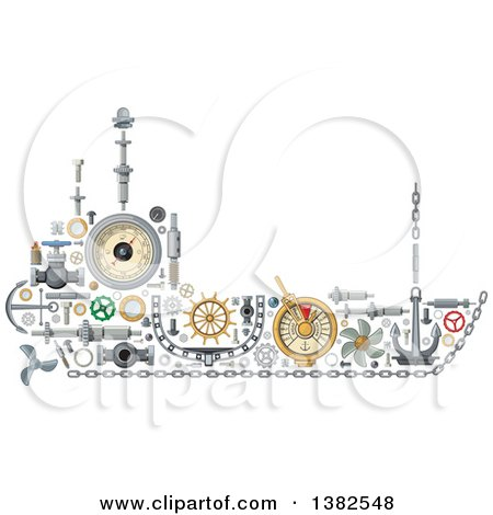 Clipart of a Ship Made of Mechanical Parts - Royalty Free Vector Illustration by Vector Tradition SM