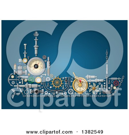 Clipart of a Ship Made of Mechanical Parts, on Blue - Royalty Free Vector Illustration by Vector Tradition SM
