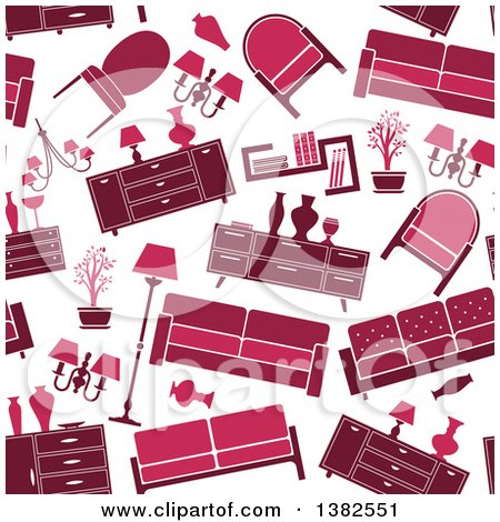 Clipart of a Seamless Background Pattern of Red and Pink Retro Furniture - Royalty Free Vector Illustration by Vector Tradition SM