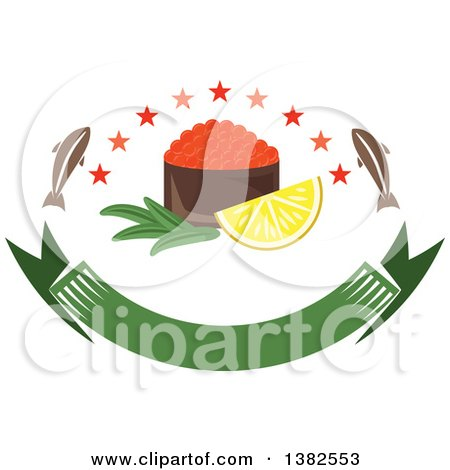 Clipart of a Bowl of Red Caviar with Fish, Stars and Lemon over a Blank Banner - Royalty Free Vector Illustration by Vector Tradition SM