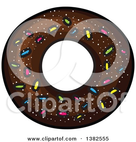 Clipart Of A Chocolate Sprinkle Donut Royalty Free