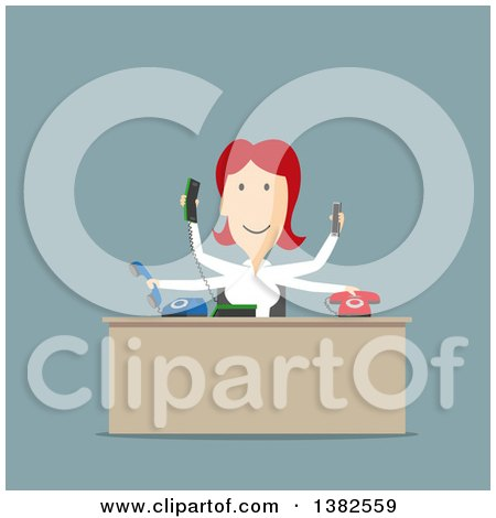 Clipart of a Flat Design Busy Red Haired White Business Woman Managing Many Telephones in an Office, on Blue - Royalty Free Vector Illustration by Vector Tradition SM